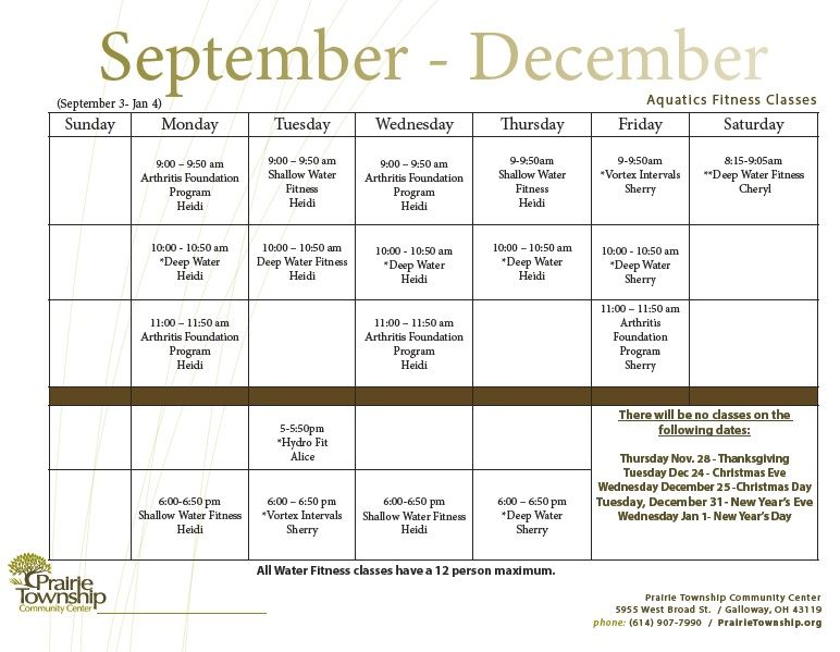 Aquatics Fitness Schedule