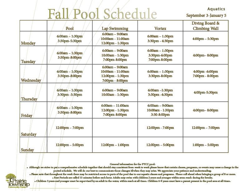 Fall Pool Sched updated