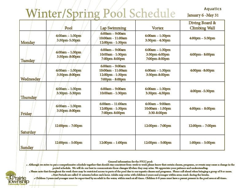 Winter Pool Schedule
