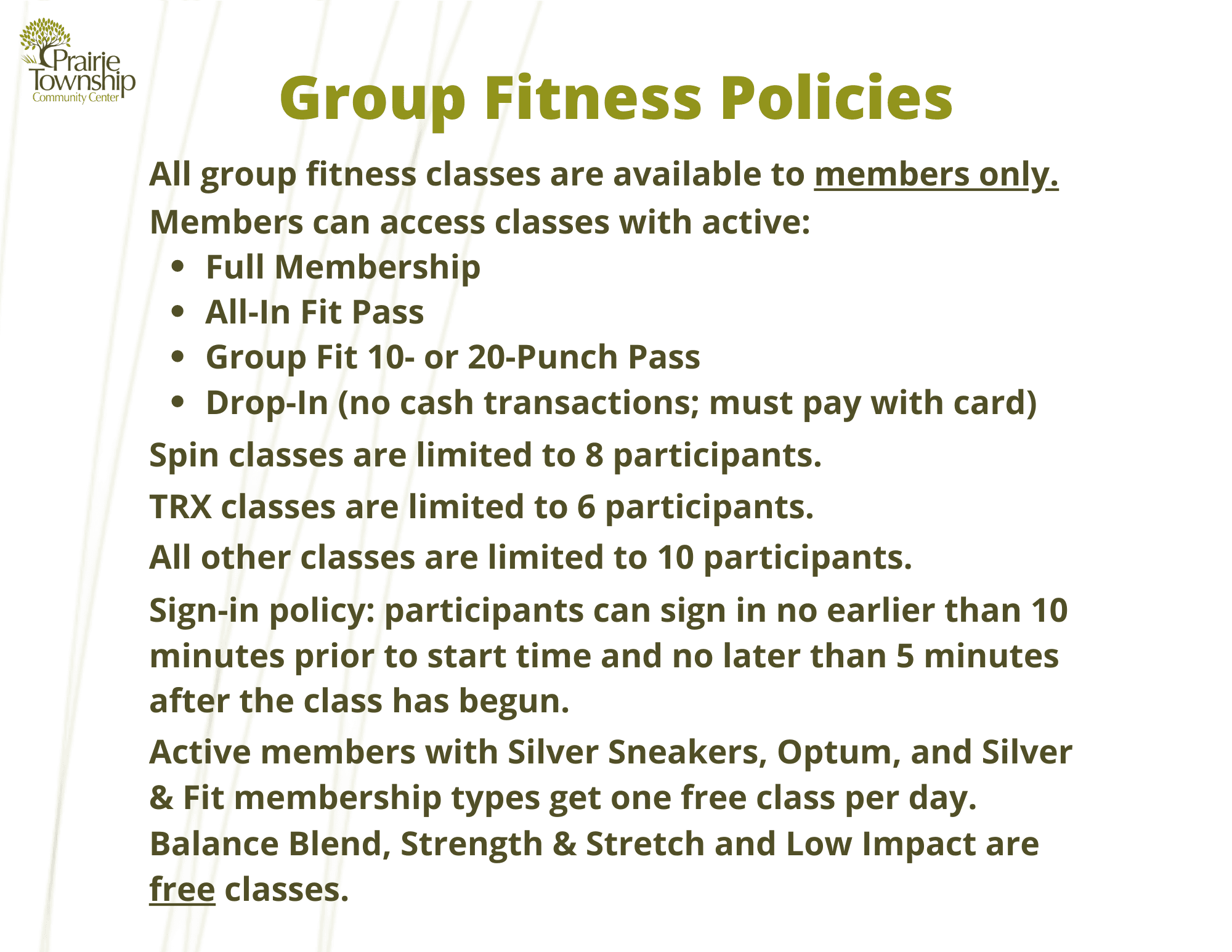 Group Fitness Policies