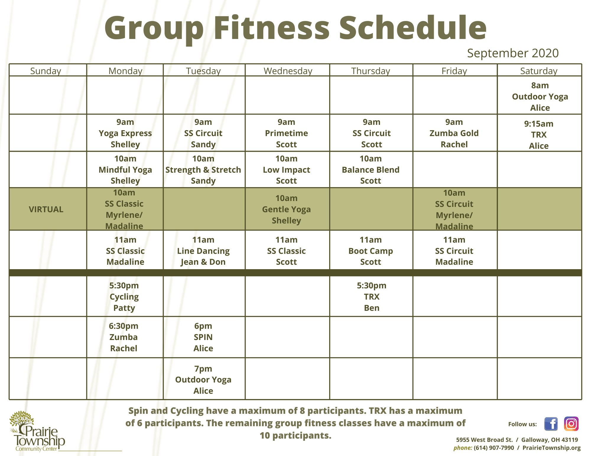 Updated Group Fitness Schedule