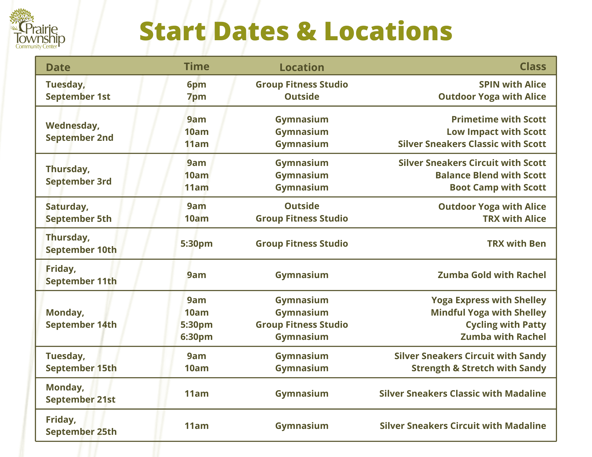 Updated Start Dates