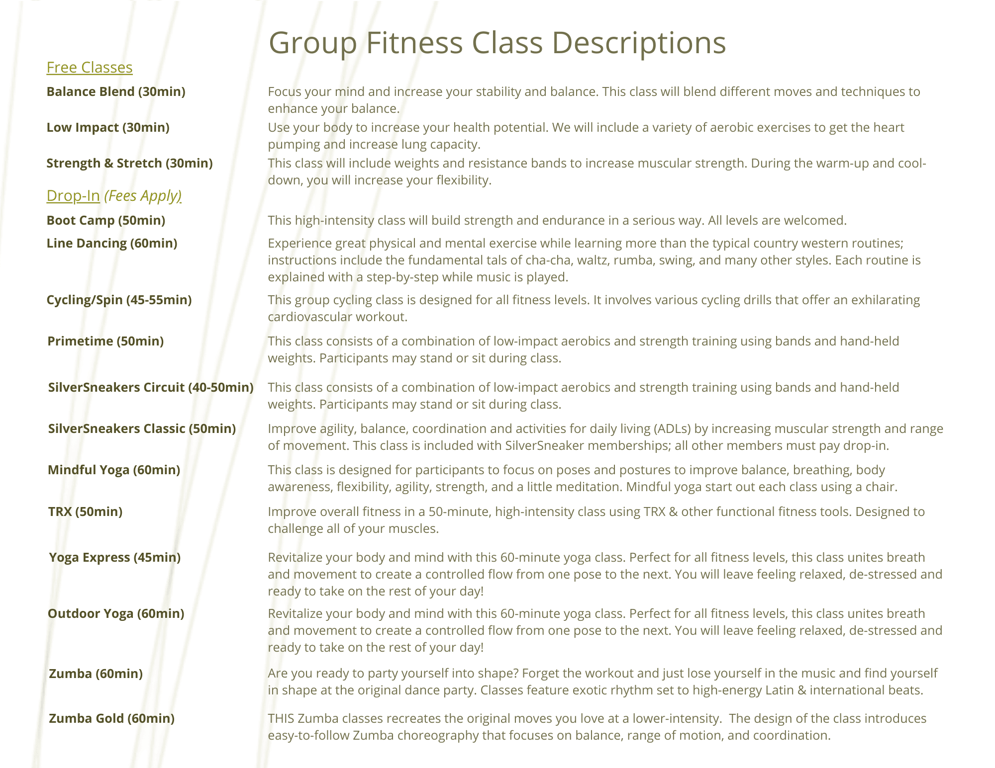 Group Fit Descriptions